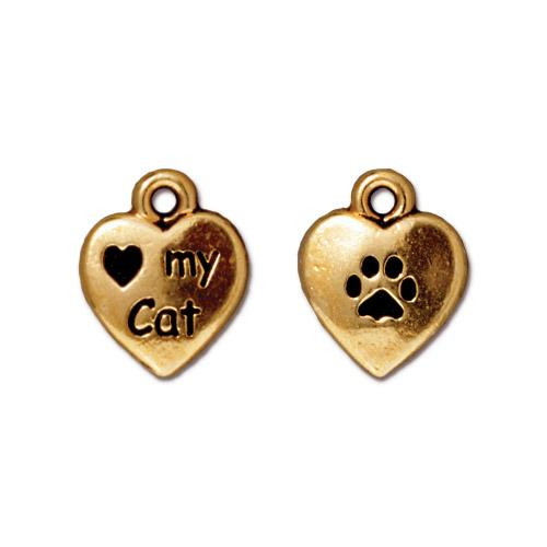 Love My Cat Charm, Antiqued Gold Plate, 20 per Pack