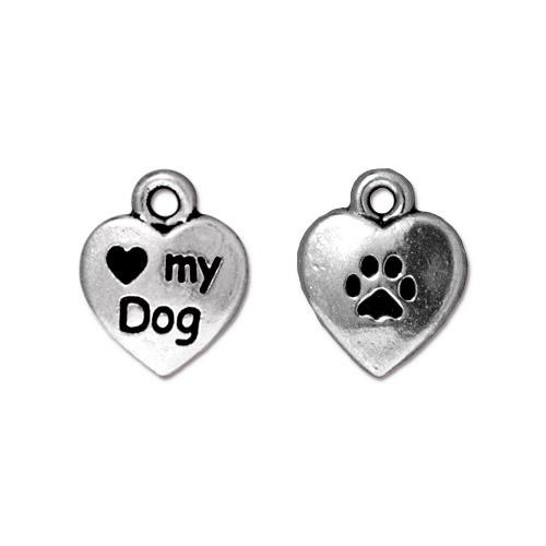 Love My Dog Charm, Antiqued Silver Plate, 20 per Pack