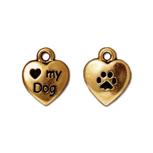 Love My Dog Charm, Antiqued Gold Plate, 20 per Pack
