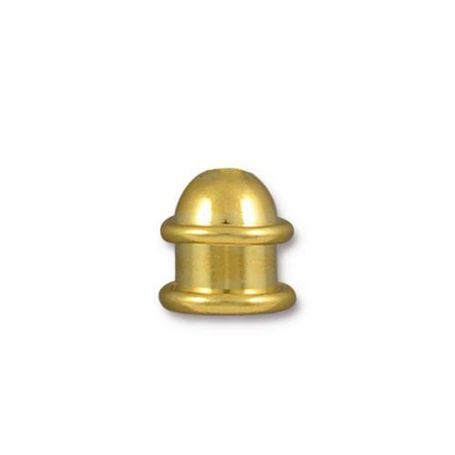 Capitol 6mm Cord End, Gold Plate, 20 per Pack
