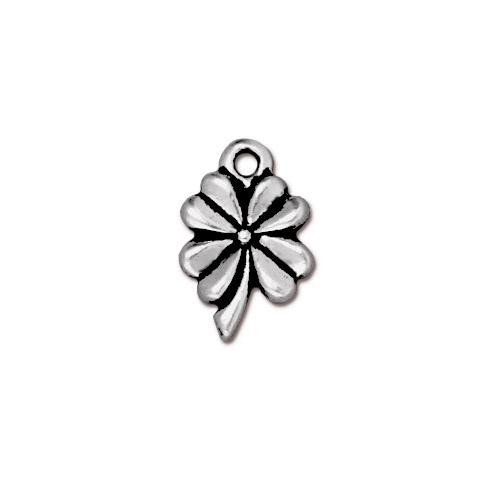 Four Leaf Clover Charm, Antiqued Silver Plate, 20 per Pack