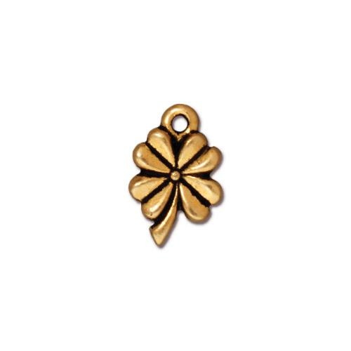 Four Leaf Clover Charm, Antiqued Gold Plate, 20 per Pack
