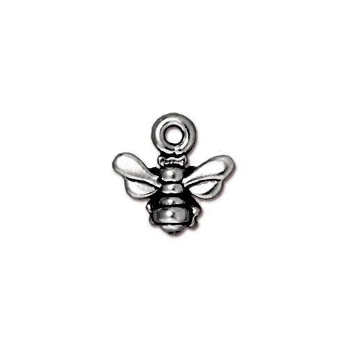 Honeybee Small Charm, Antiqued Silver Plate, 20 per Pack