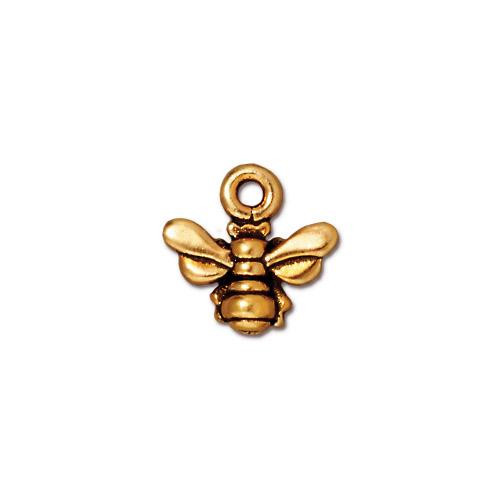 Honeybee Small Charm, Antiqued Gold Plate, 20 per Pack