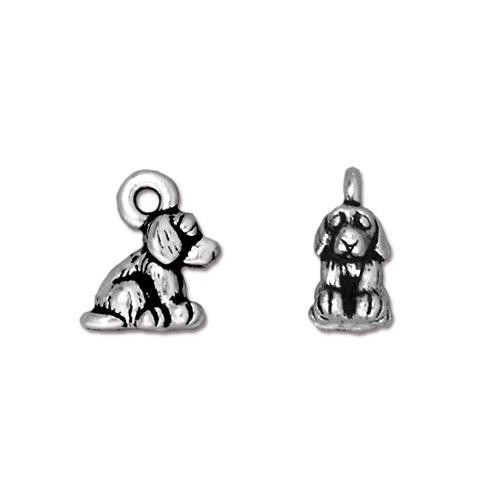 Dog Charm, Antiqued Silver Plate, 20 per Pack