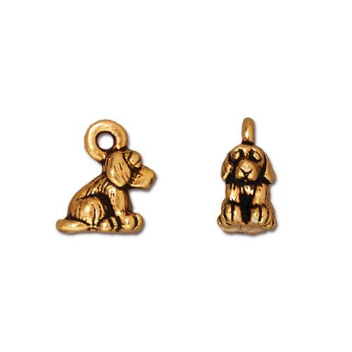Dog Charm, Antiqued Gold Plate, 20 per Pack
