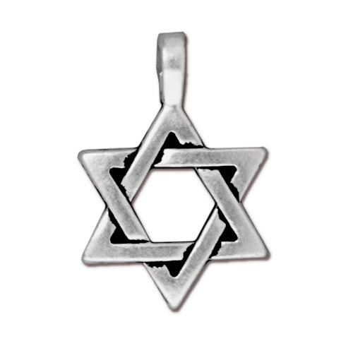 Star of David Pendant, Antiqued Silver Plate, 20 per Pack