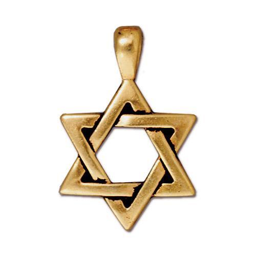 Star of David Pendant, Antiqued Gold Plate, 20 per Pack