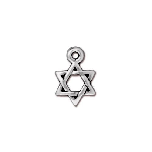 Star of David Charm, Antiqued Silver Plate, 20 per Pack