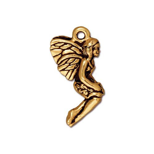 Leaf Fairy Charm, Antiqued Gold Plate, 20 per Pack
