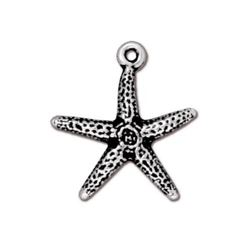 Seastar Charm, Antiqued Silver Plate, 20 per Pack