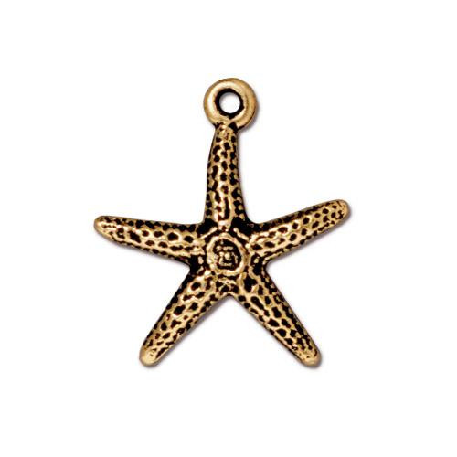 Sea Star Charm, Antiqued Gold Plate, 20 per Pack