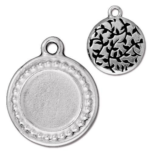 Beaded Round Frame Charm, Antiqued Silver Plate, 20 per Pack