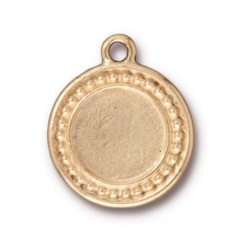 Clearance: Beaded Round Frame Charm, Antiqued Gold Plate, 10 per Pack