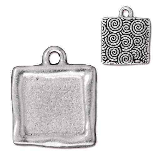 Simple Square Frame Charm, Antiqued Silver Plate, 10 per Pack