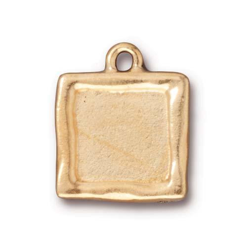Clearance: Simple Square Frame Charm, Antiqued Gold Plate, 10 per Pack