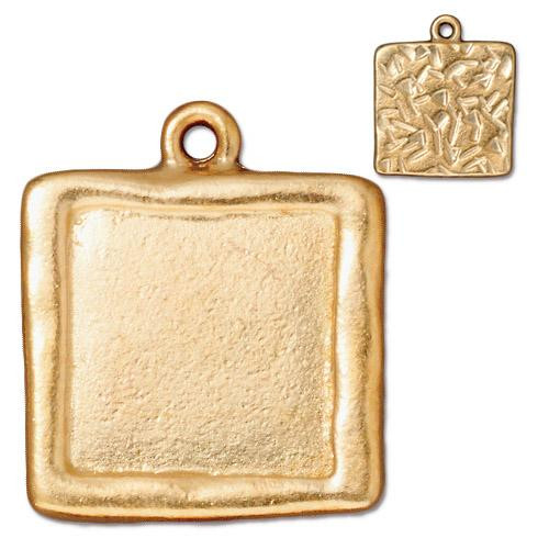 Clearance: Large Square Frame Charm, Gold Plate, 10 per Pack