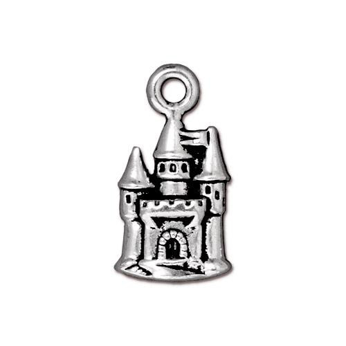 Castle Charm, Antiqued Silver Plate, 20 per Pack