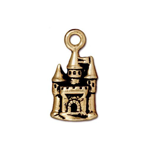 Castle Charm, Antiqued Gold Plate, 20 per Pack