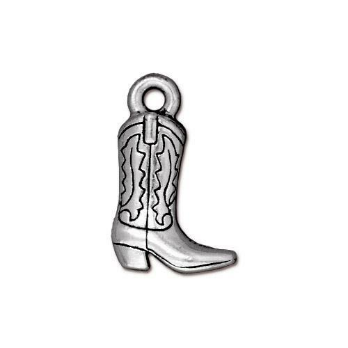 Western Boot Charm, Antiqued Silver Plate, 20 per Pack