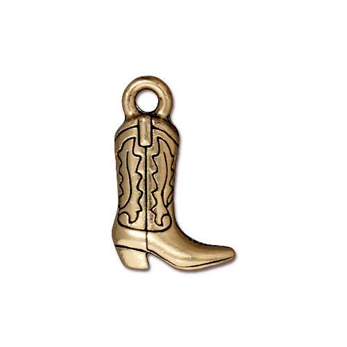 Western Boot Charm, Antiqued Gold Plate, 20 per Pack