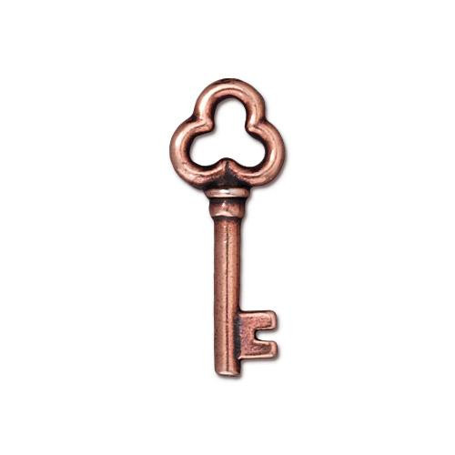 Key Charm, Antiqued Copper Plate, 20 per Pack