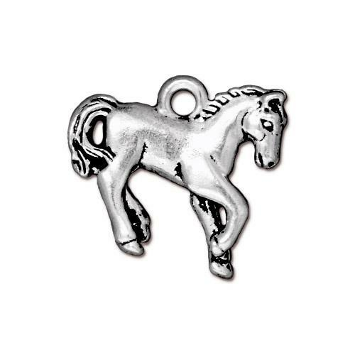 Yearling Horse Charm, Antiqued Silver Plate, 20 per Pack