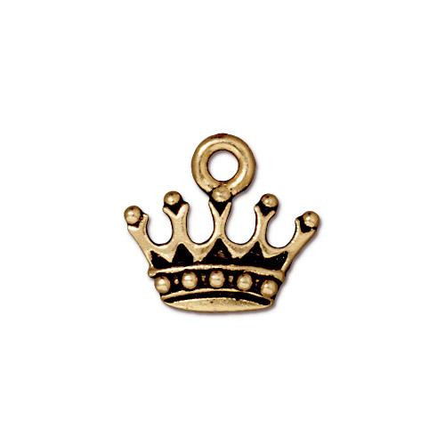 KIng's Crown Charm, Antiqued Gold Plate, 20 per Pack