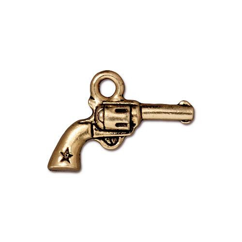 Revolver Charm, Antiqued Gold Plate, 20 per Pack