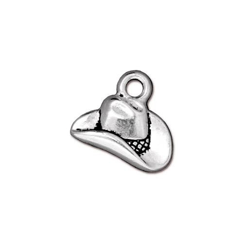 Cowboy Hat Charm, Antiqued Silver Plate, 20 per Pack