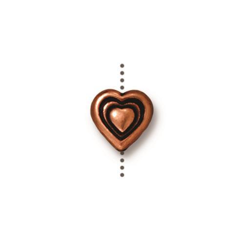 Heart Bead, Antiqued Copper Plate, 20 per Pack