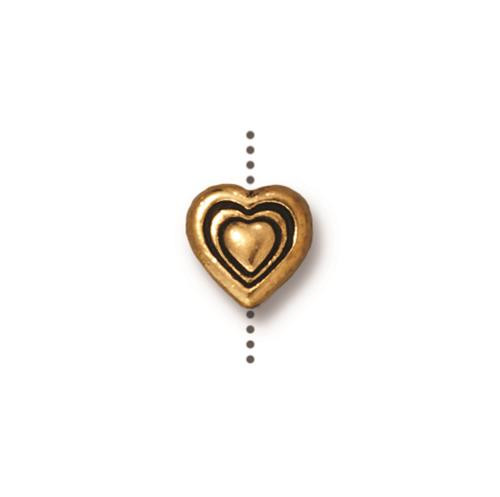 Heart Bead, Antiqued Gold Plate, 20 per Pack