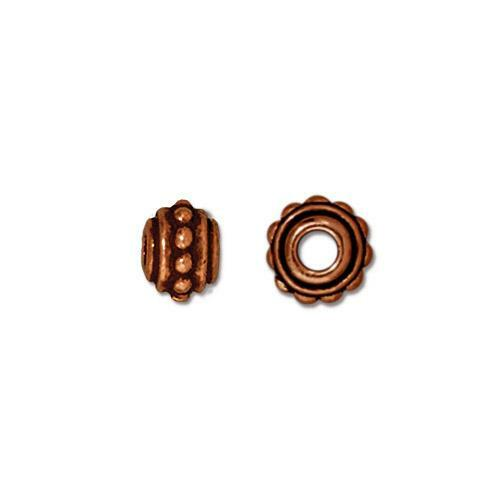 Beaded 7mm Large Hole Bead, Antiqued Copper Plate, 20 per Pack