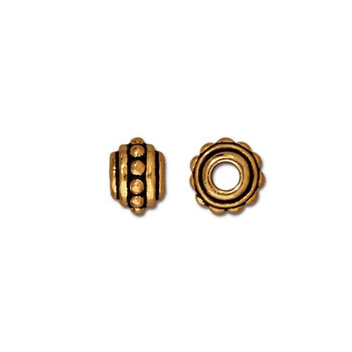 Beaded 7mm Large Hole Bead, Antiqued Gold Plate, 20 per Pack