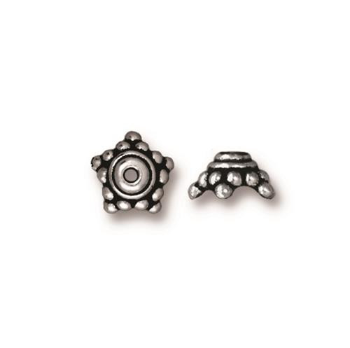 Beaded 9mm Star Bead Cap, Antiqued Silver Plate, 20 per Pack