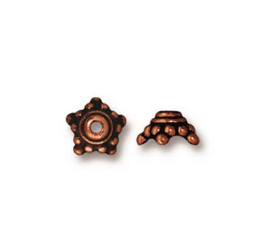 Beaded 9mm Star Bead Cap, Antiqued Copper Plate, 20 per Pack