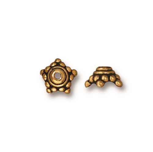 Beaded 7mm Star Bead Cap, Antiqued Gold Plate, 20 per Pack
