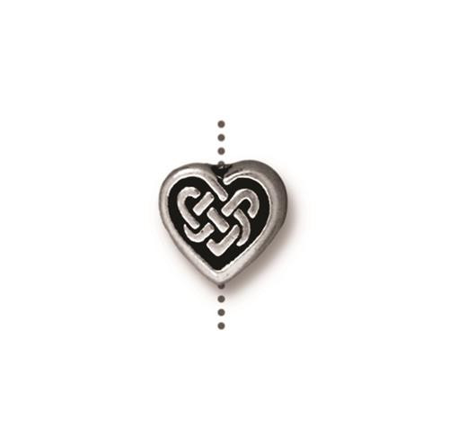 Celtic Heart Bead, Antiqued Silver Plate, 20 per Pack