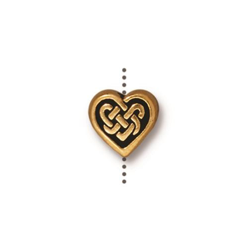 Celtic Heart Bead, Antiqued Gold Plate, 20 per Pack