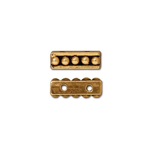 Beaded 2 Hole Bar, Antiqued Gold Plate, 20 per Pack