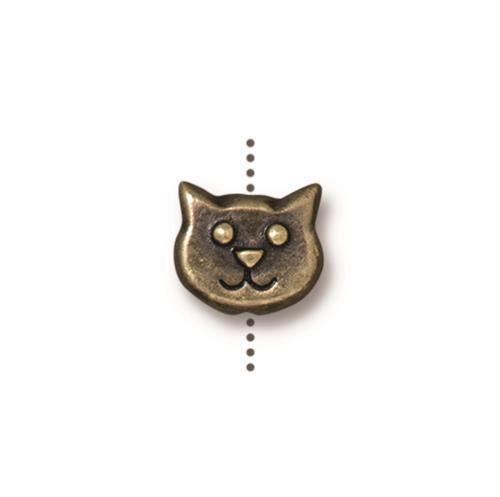 Cat Face Bead, Oxidized Brass Plate, 20 per Pack