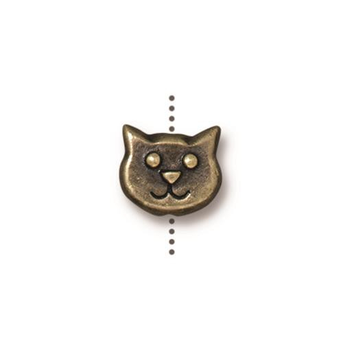 Cat Face Bead, Oxidized Brass Plate, 20 per Pack