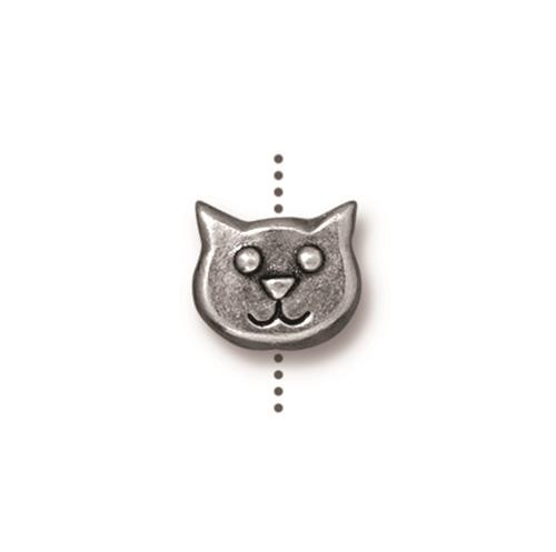 Cat Face Bead, Antiqued Pewter, 20 per Pack