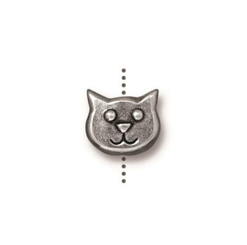 Cat Face Bead, Antiqued Pewter, 20 per Pack