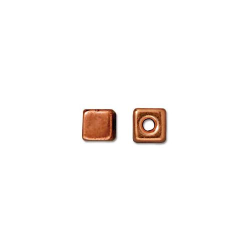Cube Bead, Antiqued Copper Plate, 50 per Pack