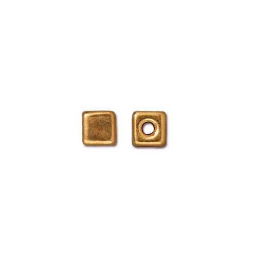Cube Bead, Gold Plate, 50 per Pack