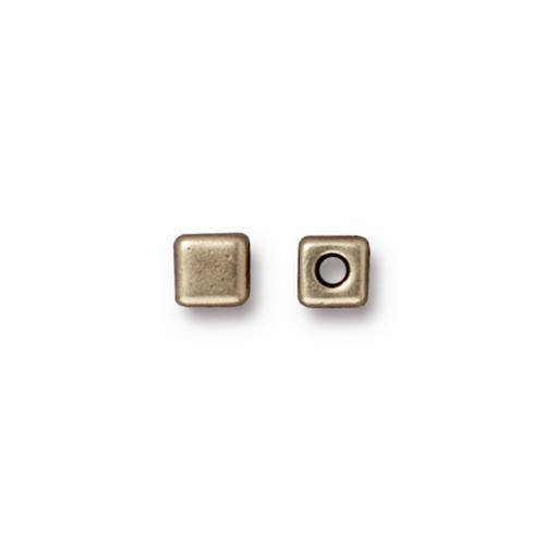 Cube Bead, Oxidized Brass Plate, 50 per Pack