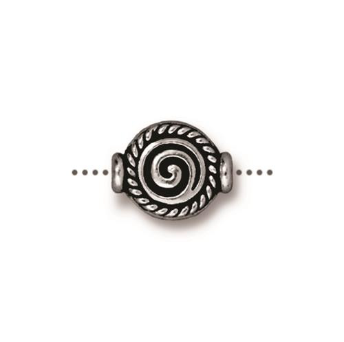 Fancy Spiral Bead, Antiqued Silver Plate, 20 per Pack