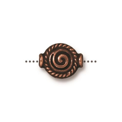 Fancy Spiral Bead, Antiqued Copper Plate, 20 per Pack