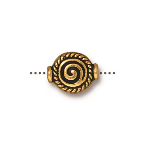 Fancy Spiral Bead, Antiqued Gold Plate, 20 per Pack